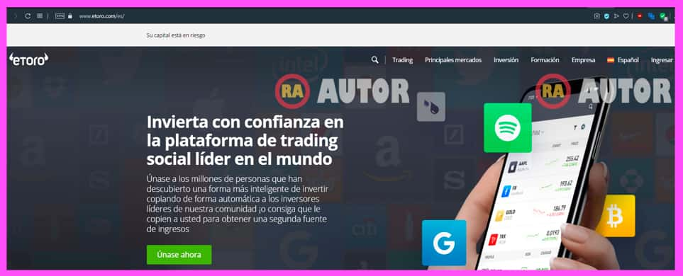 web oficial eToro para crear cuenta