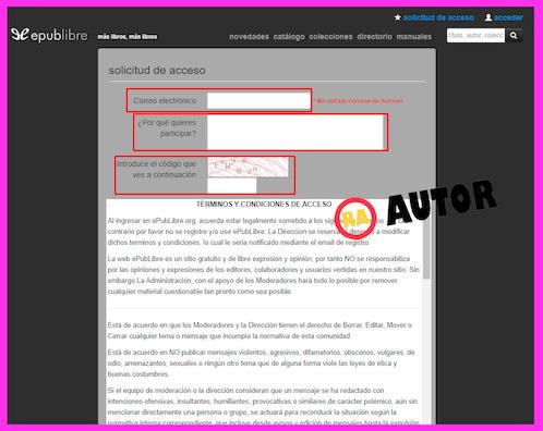 formulario de inscripcion de registro en epublibre