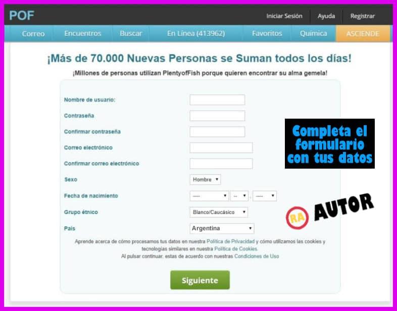 formulario de registro pof