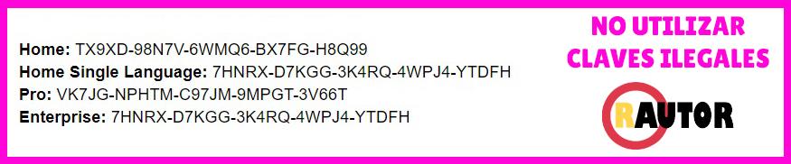 claves de activacion para windows 10