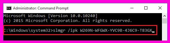 instalar una clave de licencia de windows 10